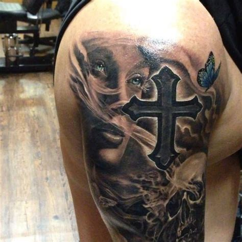 new school cross tattoo new school style colored shoulder tattoo of woman with