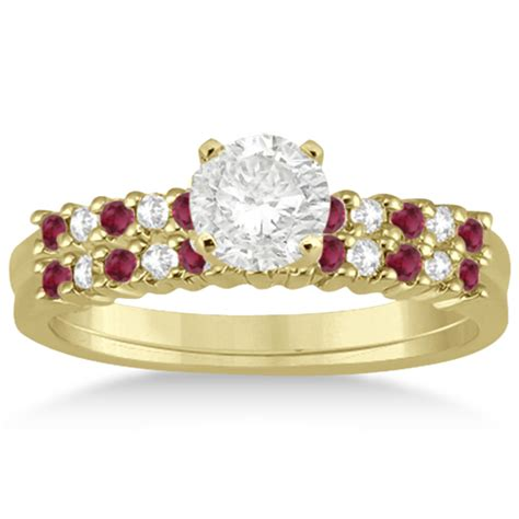 Ruby 5 35ct ruby bridal set 14k yellow gold 0 35ct