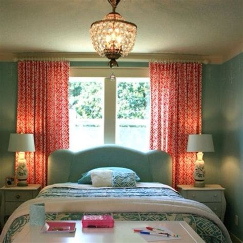 teal bedroom curtains teal and coral love the curtains possible bedroom everything teal pinterest fabrics