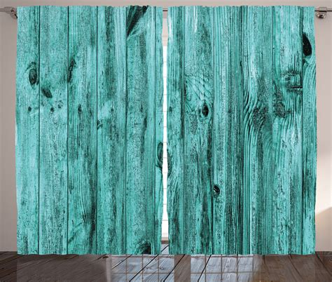 rustic style curtains turquoise wood art pattern rustic style country home decor curtain 2 panels set ebay