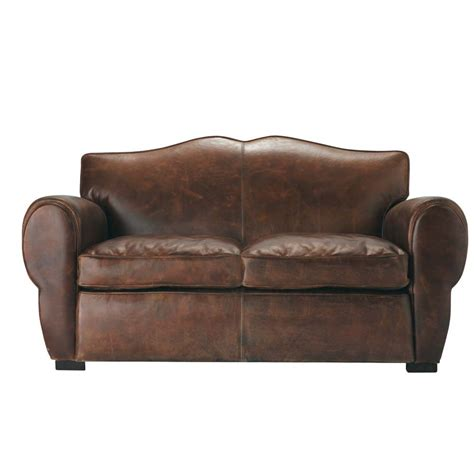 Leather 2 Seater Sofas 2 Seater Leather Sofa In Brown Moustache Maisons Du Monde