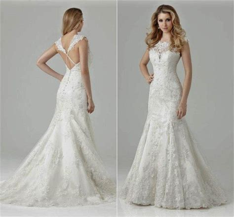 Long Sleeve Lace Wedding Dress Open Back   Gown And Dress