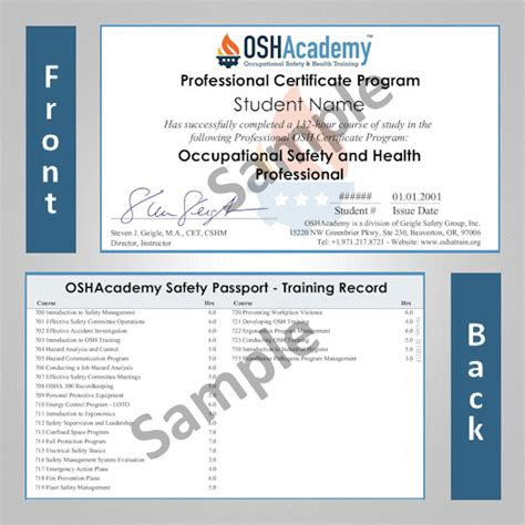 osha safety program template oshacademy 132 hour osh professional program