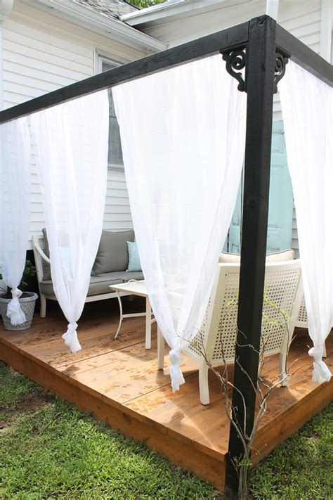 Outdoor Cabana Curtains with Diy Outdoor Cabana With Curtains House Elizabeth Burns Design Raleigh Nc Interior