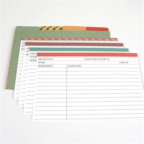 template for recipe card dividers matching 2 recipe cards with dividers printable by basic