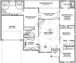 complete house plans 2306 sq ft 2 masters ada bath