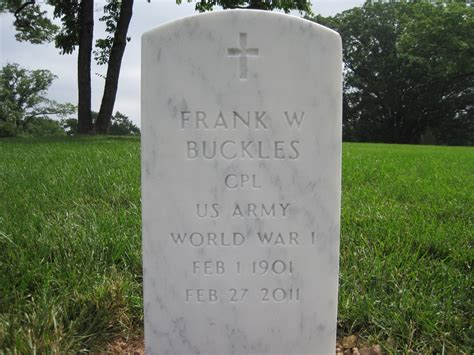 Find A Grave Cpl Frank Woodruff Buckles 1901 2011 Find A Grave