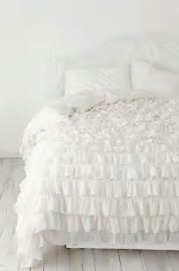 White ruffle bedspread set 3pc egyptian cotton by linensncurtains