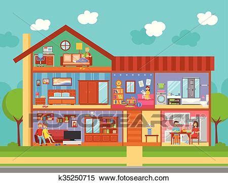 disegno interno casa clipart casa famiglia disegno interno concetto