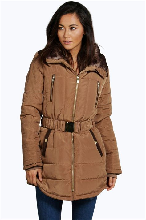 Belted Quilted Jacket by Boohoo Womens Belted Quilted Jacket With Faux Fur Lining