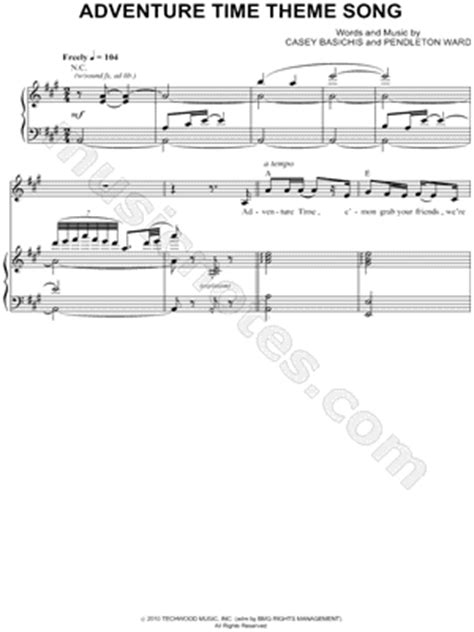 theme song adventure time quot adventure time theme song quot from adventure time sheet