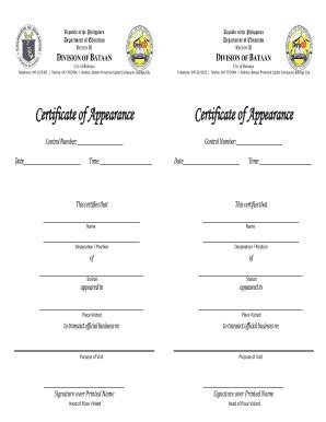 certificate of appearance sle philippines image