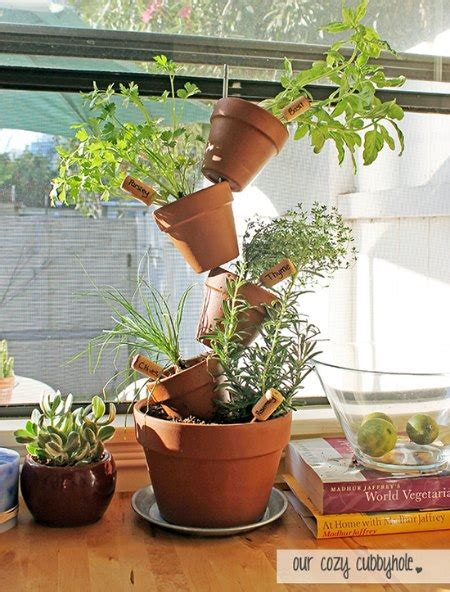 diy stacked herb garden hip2save diy lovely stacked herb garden planter