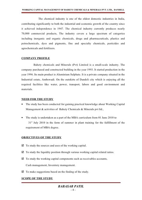Working Capital Management Project Report For Mba by Working Capital Management Project Report Mba