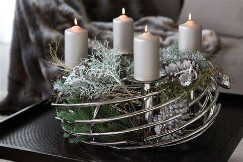 adventskranz edelstahl dekorieren adventskranz corona rund fink