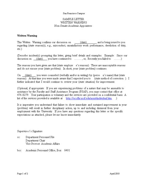 academic warning letter templates