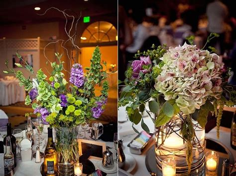 purple and green centerpieces for weddings whimsical wedding reception decor and flowers purple green light pink floral table
