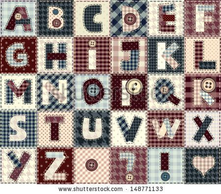 Patchwork Letters - set of alphabets letters in patchwork style may be used