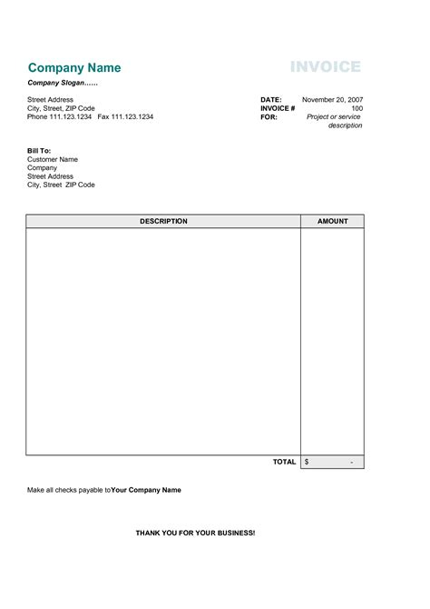 personal invoice template invoice example