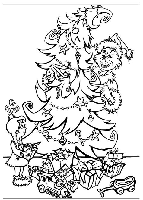 Grinch Tree Coloring Page grinch coloring pages printable free printable