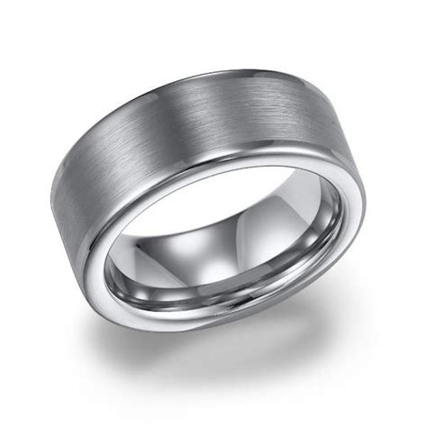 8mm wide white tungsten mens wedding band with brushed