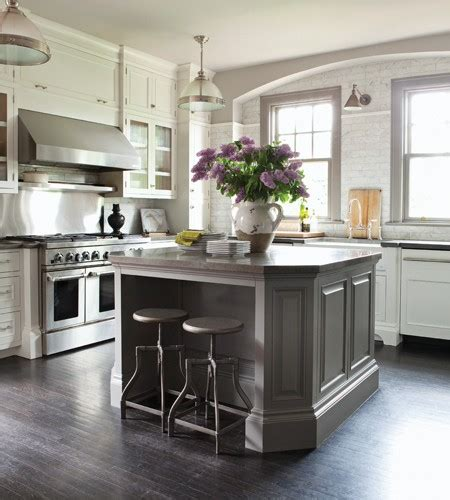white kitchen with gray island gray kitchen island transitional kitchen nam dang