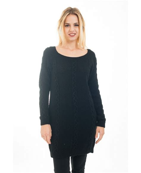 cable knit tunic sweater sweater tunic cable knit 4473 black grossiste pret a