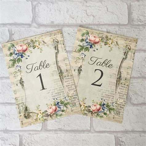 wedding table cards numbers or names shabby chic vintage