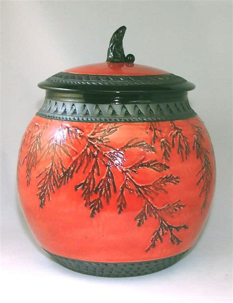 red cookie canister by suzanne crane ceramic cookie jar
