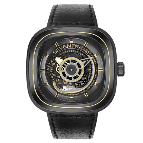 Sevenfriday P Leather Black Gold Automatic sevenfriday p series p2b 01 black gold pvd leather