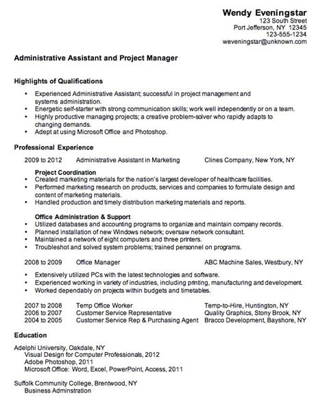 Sample Combination Resume Format by Project Administration Sample Resume 15 Construction