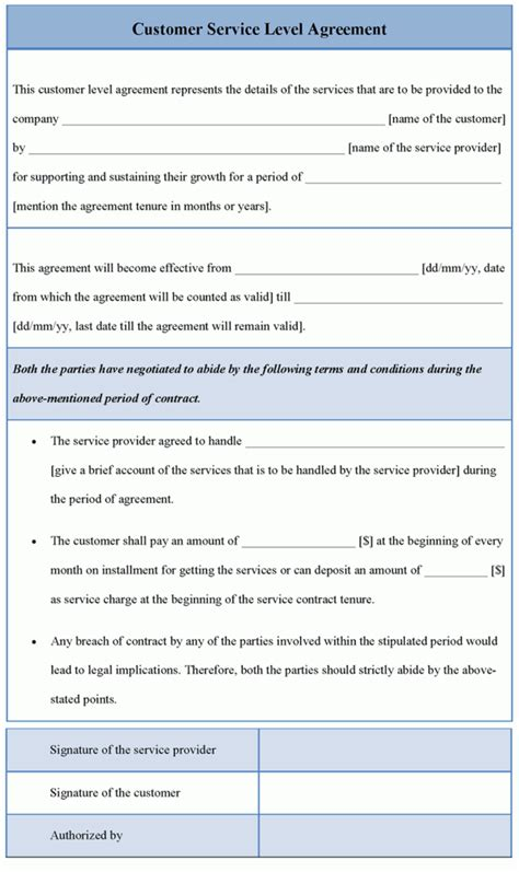 help desk service level agreement template editable customer service level agreement template for