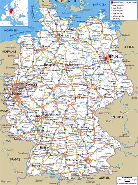 printable road maps of europe large road map of germany with cities and airports