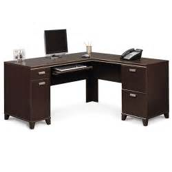 walmart desk furniture bush tuxedo collection l shaped desk mocha cherry