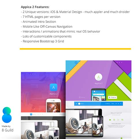 html5 templates for android html5 material design template appica 2