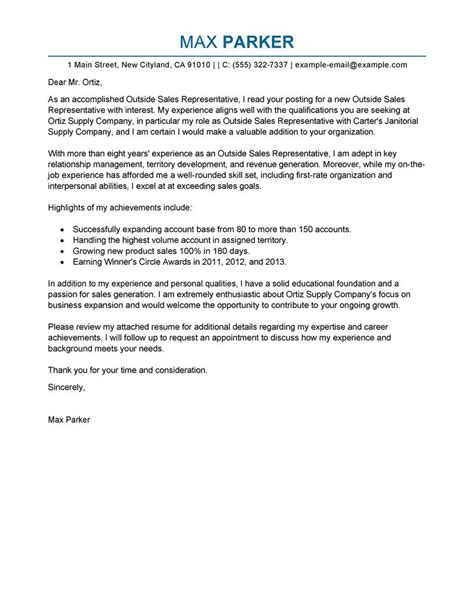 sales representative cover letter exles best outside sales representative cover letter exles