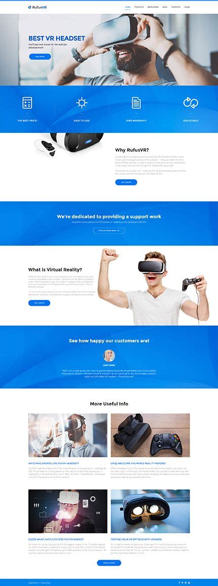 Virtual Reality Entertainment Wordpress Template Themes Business Responsive Vr Website Template