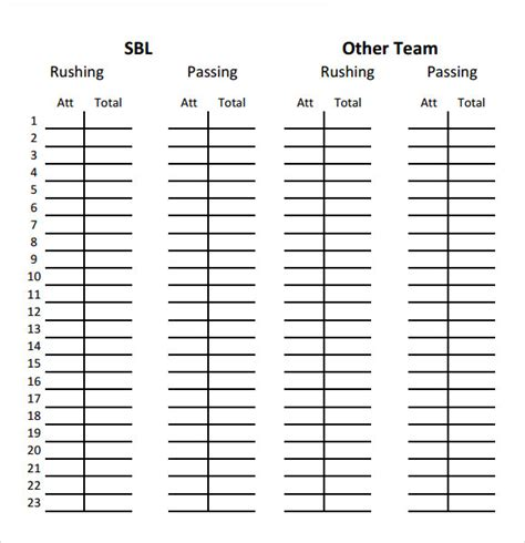 football stat sheet template sle football score sheet 12 documents in pdf