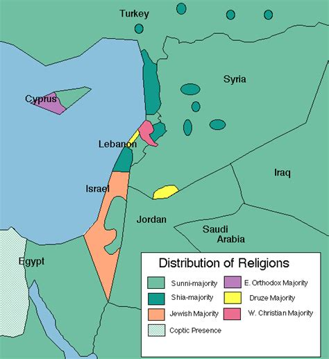 middle east map of religions map of the distribution of religions in the middle east