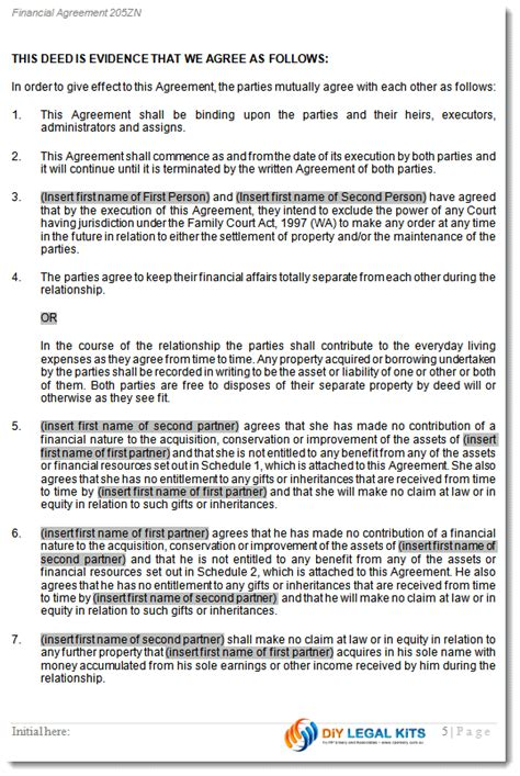 de facto agreement template wa pre cohabitation agreement peaceful path to settlement