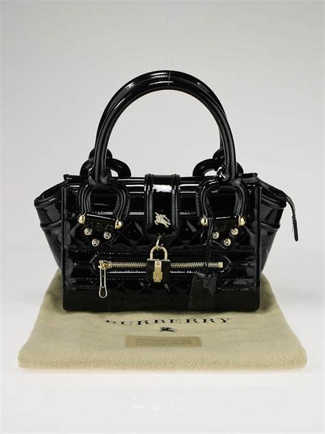 Burberry Patent Manor Bag by Burberry Black Patent Leather Quilted Mini Manor Tote Bag