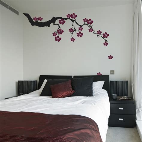 bedroom wall decals ideas exotic sakura branch with falling blossoms wall decals