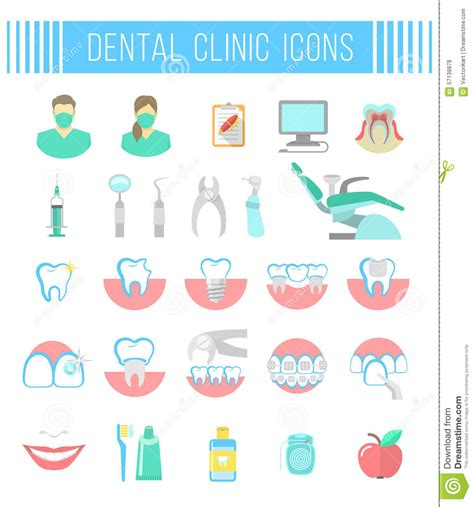 dental clinic services flat icons  white stock vector