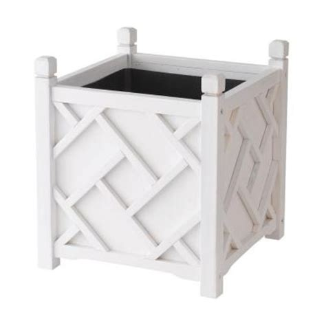 dmc chippendale 18 in square white wood planter 70210