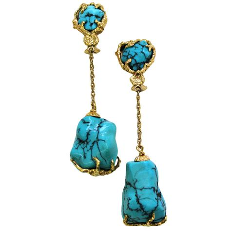 gold and turquoise drop earrings circa 1960 signed