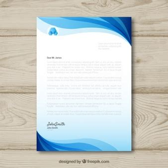 plantilla business letterhead with blue waves carta con membrete con ondas azules descargar vectores