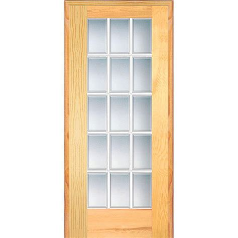 Prehung Interior Door With Glass Mmi Door 30 In X 80 In Left Handed Unfinished Pine Wood Clear Glass 15 Lite Beveled Single