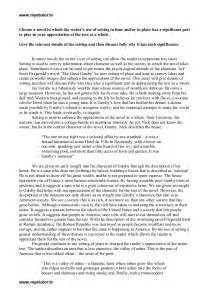 Great Gatsby Character Analysis Essay higher the great gatsby essay on setting