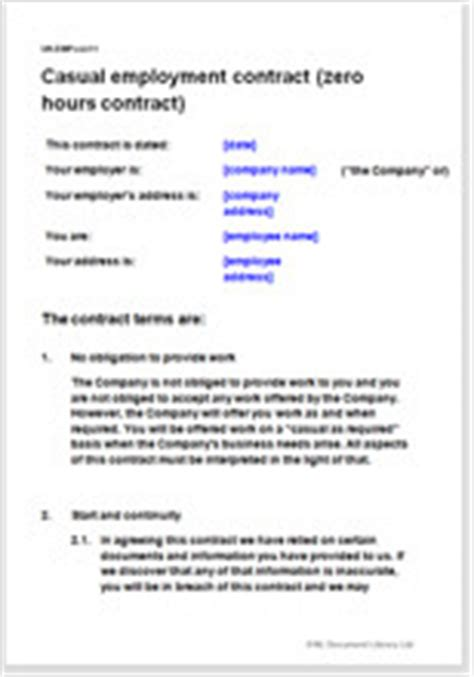 Resignation Letter Zero Hour Contract Zero Hours Contract Template To Employ Casual Workers