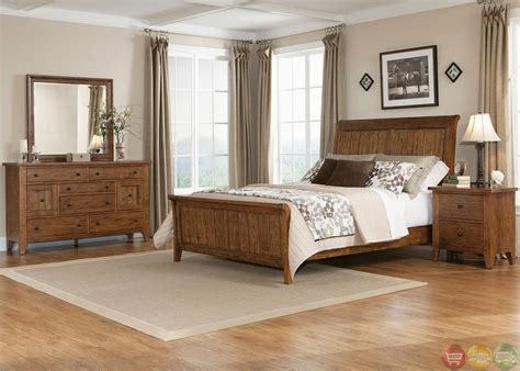 Rustic Oak Bedroom Furniture Hearthstone Traditional Rustic Oak Sleigh Bedroom Set